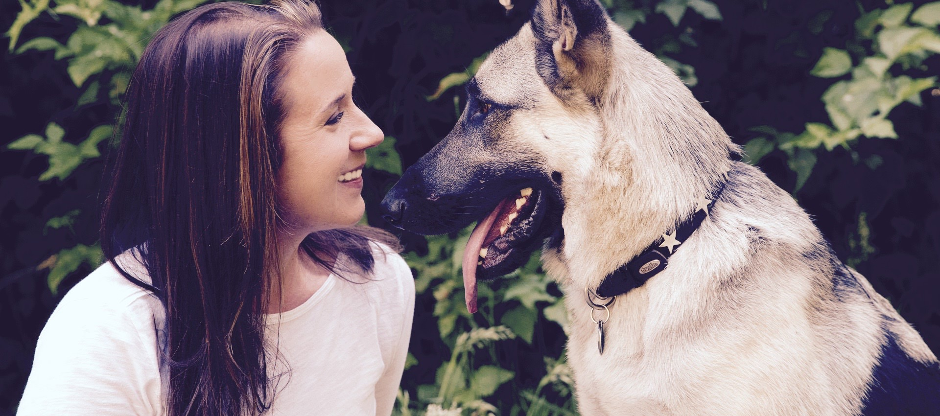 Image of a woman with a german shepherd dog